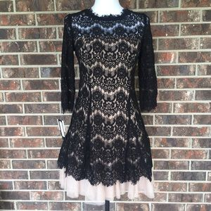Betsy & Adam Women's Black Lace Mini Dress Size 6